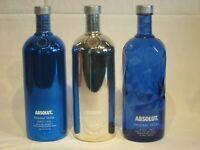 3 Flaschen Absolut Vodka Facet - Electrik-Set je 1000ml 40% Vol.