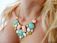 Statement Kette pastell Geschenk Halskette Vintage Collier Blogger gold bunt