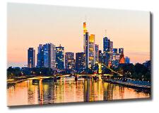 Leinwand Bild Frankfurt Skyline Sonnenuntergang Flößer Brücke Mainhattan Bilder