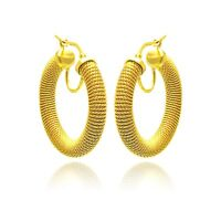 YELLOW GOLD OVER 925 STERLING SILVER ITALIAN MADE HOOP EARRINGS /28MM BY 4MM