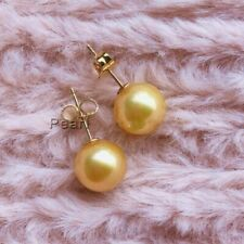 PERFECT Round 7-8MM AAA+ Real GOLD SOUTH SEA PEARL STUD EARRINGS 14K  GOLD