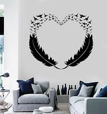 Vinyl Wall Decal Feathers Heart Decor Love Birds Romantic Stickers (299ig)