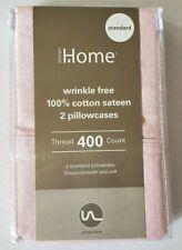 Wrinkle Free Standard 100% Cotton Sateen Pink Dot Pillowcase Pair 400 Thread Ct