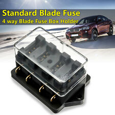 12V 4 Way Car Truck Boat Automotive Blade Fuse Holder Box Circuit ATO ATC Black