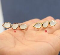 925 Sterling Silver Jewelry Chalcedony Gemstone Gold Plated Pear Shape Gift Ring