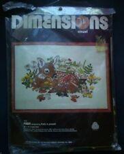 "Dimensions Vintage Crewel Kit #1174 Fawn Linda K Powell 20""x14"" Htf"