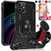 For iPhone 12 12 Pro Max Case Shockproof Stand Cover+Tempered Glass+Car Holder