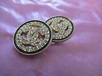 💋💋Chanel 2 gold tone  cc  buttons 20mm lot of 2 good condition💋💋 RHINESTONES