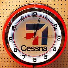 "18"" CESSNA Aircraft Sign Double Neon Clock"