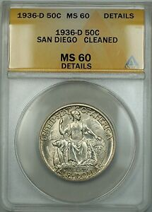 1936-D San Diego Commem Silver Half ANACS MS-60 Details Cleaned (Better Coin)