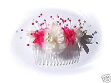 PEIGNE Coiffure Mariage fleurs tissu perles diadème demoiselle d'honneur