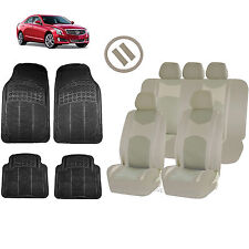 ALL BEIGE HONEYCOMB SEAT COVERS AIRBAG READY SPLIT BENCH MATS FOR CARS 1545