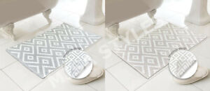 LUXURY 100% COTTON GEOMETRIC REVERSIBLE BATH SHOWER BATHROOM MAT RUG WASHABLE