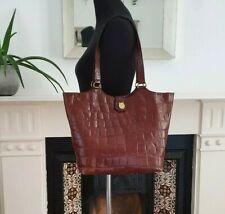 Vintage Mulberry shoulder bag handbag brown red croc leather large tote shopper