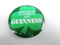 VINTAGE PROMO PINBACK BUTTON #95-066 - BEER - GUINNESS - ST. PATRICK'S DAY