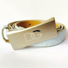 Dolce & Gabbana Belt D&G Designer Small ITALY Women Light Blue Vintage Silver