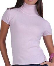 Balldiri 100% cashmere Femmes Manches Courtes Col Roule Shirt zartros