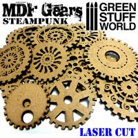ENGRANAJES Steampunk en MADERA DM - corte láser modelismo miniaturas abalorios