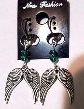 Silver Angel Wings & Teal Crystal Dangle Earrings on Silver Lever Back Findings