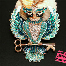 Betsey Johnson Gold Plated Crystal Enamel Owl Necklace