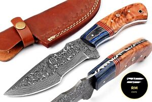 10''NEW CUSUTOM HANDMADE DAMASCUS HUNTING KNIFE FULL TANG FIXED BLADE TRACKER81
