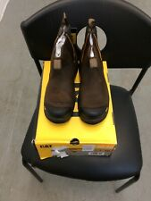 Cat Caterpillar Mens Steel Toe Saftey Slip On Work Boots Size 7
