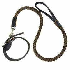 Genuine Leather Large Dog Leashes Pet Traction Rope Collar Set Big Belt Weaving