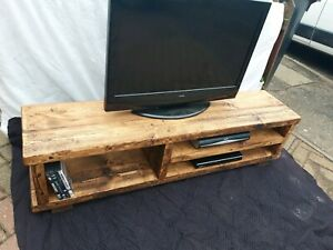 TV stand Chunky Rustic Side Table Wooden Sleeper 130cm cabinet lcd plasma