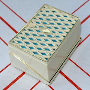 Classy Vintage Retro Double Wedding Ring Presentation Box Turquoise Blue & Ivory