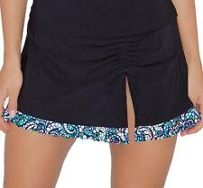 Profile Swim Skirt Sz 8 Black Multi Vitrage Side Tie Bikini Bottom E509-1P92
