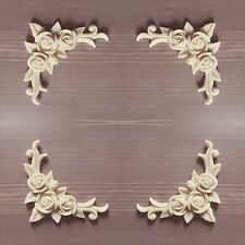 Set 4 Shabby Chic Large Furniture Corner Resin Applique Rose Swag Decal not wood