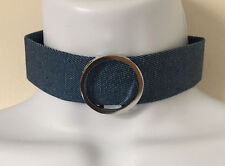 Necklace with Silver tone Ring Wide Denim Blue Jeans Fabric Choker