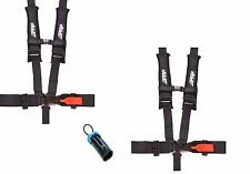 "PRP 5 Point Harness 3"" x 2 Seat Belt PAIR BLACK Bypass Polaris RZR XP Turbo 1000"