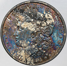 1884-P MORGAN SILVER DOLLAR BOLD MONSTER TONED COLOR UNC BU STRIKING (MR)