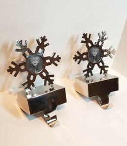 PAIR CRATE & BARREL Christmas Stocking Hanger Holder SNOWFLAKE Picture Frame