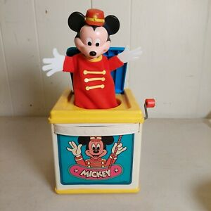 1987 Mattel Mickey Mouse Jack In Box Disney Minnie Donald Duck Vintage