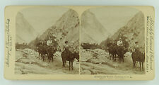 Underwood Stereoview of Women Riding on a Trail in the Rockies, California 1894