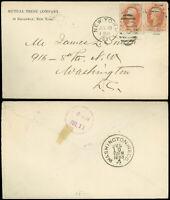JUL 20, 1883 NYC Cds, MUTUAL TRUST CO. Corner Card to Washington DC, SC #183 x2!