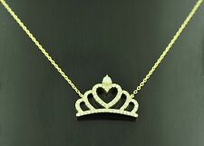 14k Solid Yellow gold  Natural Diamond Necklace  Crown necklace  0.37 ct