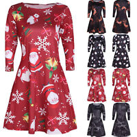 Christmas Santa Xmas Ladies Evening Party Long Sleeve Casual Skater Swing Dress