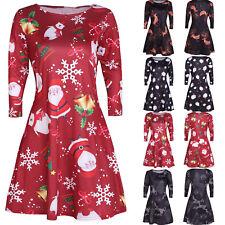 Women Christmas Santa Xmas Reindeer Party Costume Long Sleeve Skater Swing Dress