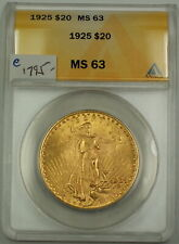 1925 $20 St. Gaudens Double Eagle Gold Coin ANACS MS-63 (A)