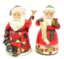 Pair Of 2013 JIM SHORE Christmas Theme SANTA CLAUSE Painted Resin Figures - O10