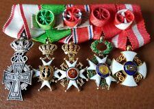 Barettes de 5 miniatures Danebrog Vasa St Olaf Legion d'Honneur Couronne Italie