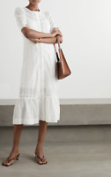 REFORMATION Oxford Broderie Anglaise-Trimmed Cotton Dress Size 4 Orig. $280 NWT