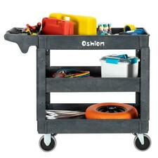 500lb 3 Layer Plastic Utility Service Cart Dolly Trolley Heavy Duty Rolling Us