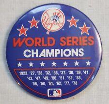 VINTAGE Yankees Series Champs Button 80's Pin Baseball Memorabilia