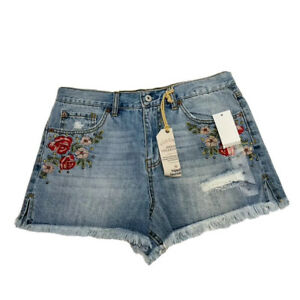 Hippie Laundry High Rise Shorts Sz 30 Floral Distressed
