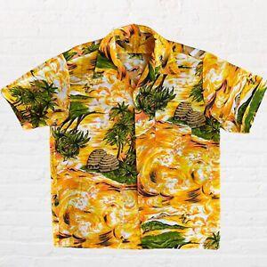 Vintage 70s Handmade HAWAIIAN Tropical Surfer Button Up Down Shirt XL