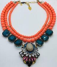 David Aubrey Anthropologie Flamingo Pink Beads & Rhinestones Statement Necklace